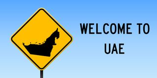 UAE map on road sign. Wide poster with UAE country map on yellow rhomb road sign. Vector illustration stock illustration