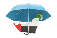 UAE map under umbrella. Security and protect or insurance concep. T, 3D Royalty Free Stock Photography