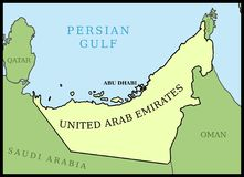 UAE map. United Arab Emirates UAE map. Outline vector country map Royalty Free Stock Photos