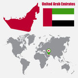 UAE map on a world map with flag and map pointer. Vector illustration Stock Photography