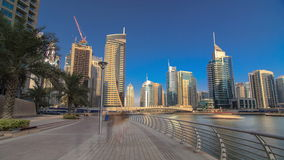 UAE Modern buildings in Dubai Marina. In the city stock video