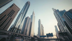 UAE, 2017: The modern and developed metropolis. Urban. Skyscrapers with stained-glass facades in the UAE. Stone jungle: modern architecture and high buildings stock footage