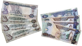 UAE Money. The highest denomination of UAE currency with both side displayed on a islolated background, with clipping path Royalty Free Stock Photography