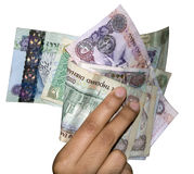 UAE Money Currency. Different denomination of UAE money, held by a women, you can find the most popular and higher denomination of UAE currency, which is also Stock Photo