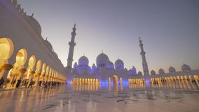 UAE, 2017: Mosque in Abu Dhabi, in the evening light. Lighting mosque stock video footage