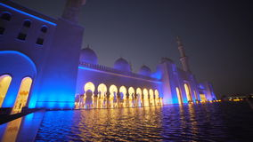 UAE, 2017: Mosque reflected in the water. Mosque in Abu Dhabi stock footage