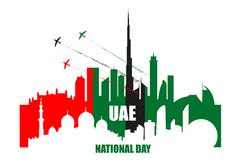 UAE National Day poster with landmarks, skyscrapers silhouettes Royalty Free Stock Images