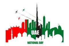 Uae-Nationaltagplakat mit Marksteinen, Wolkenkratzerschattenbilder lizenzfreie abbildung