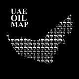 UAE oil map. Silhouette maps of  United Arab Emirates of oil pum Royalty Free Stock Images