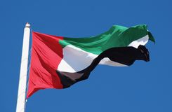 A Bright UAE Flag in the sun. The United Arab Emirates (UAE) proudly flies its flag around the country stock images
