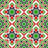 UAE seamless pattern. Arabic repeated background. Traditional emirates flag colors. Red, green, white, black. Islamic royalty free illustration