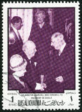 UAE - 1970 : shows Sir Winston Leonard Spencer Churchill 1874-1965 and Charles de Gaulle 1890-1970 Royalty Free Stock Photography
