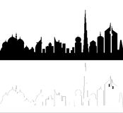 UAE Skyline Silhouette stock images