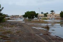 UAE som översvämmar i Ras al Khaimah arkivbild