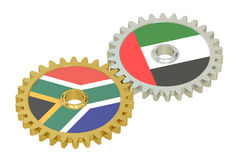 UAE and South Africa flags on a gears, 3D rendering Stock Photo