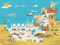 UAE travel concept map Stock Photography