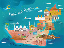 UAE travel concept map. With attractions and specialties Stock Image