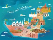 UAE travel concept map Stock Image
