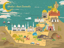 UAE travel concept map. With attractions and specialties Royalty Free Stock Image