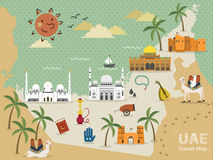 UAE travel concept. Map with attractions and specialties Stock Image