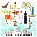 UAE travel concept map vector Royalty Free Stock Photography
