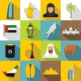 UAE travel icons set, flat style. UAE travel icons set. Flat illustration of 16 UAE travel icons for web Royalty Free Illustration