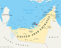UAE United Arab Emirates Political Map. With capital Abu Dhabi, national borders, important cities and bodies of water. English labeling and scaling stock illustration