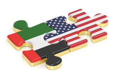 UAE and USA puzzles from flags, 3D rendering Stock Image