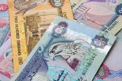 UAE waluta - 500 dirhams zauważają zbliżenie obrazy stock