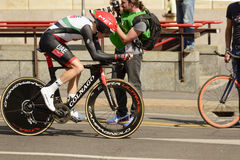 UAE Zespalają się konkurenta przy wysoką prędkością przy Giro 2017, Mediolan Obraz Royalty Free