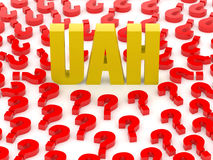 UAH sign surrounded by question marks. Stock Photos