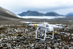 UAV in Arctic. Mountains and glacier on the background stock images