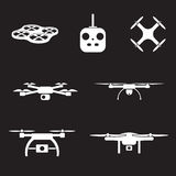 UAV camera icons set Stock Image