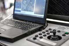 UAV control center, electronic drone, air.  stock image