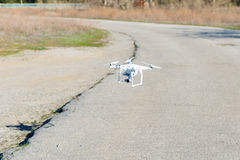 Uav drone copter flying with digital camera. Hexacopter drone with high resolution digital camera on the sky. Uav drone copter flying with digital camera royalty free stock images