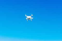 Uav drone copter flying with digital camera. Hexacopter drone with high resolution digital camera on the sky. Uav drone copter flying with digital camera stock photography