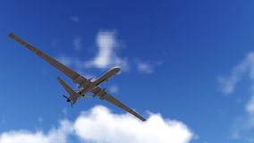 UAV Drone Flying. Military Drone (UAV) flying over sunset high quality 3d animation royalty free stock image