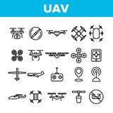 UAV, grupo linear dos ícones do vetor de controle remoto dos zangões ilustração royalty free