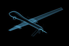 UAV predator drone. (3D x-ray blue transparent isolated on black Royalty Free Stock Photography