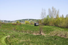 UAZ (Buhanka) travels along a country road in the vicinity of Ka Stock Image