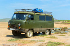 UAZ-452 drove the dirt. Opuksky Reserve is located on the southern coast of Kerch Peninsula royalty free stock photography