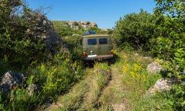 UAZ-452 in Karalar regional landscape park. Crimea. Royalty Free Stock Image