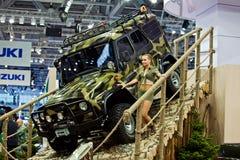 UAZ Patriot dargestellt in Moskau, Russland. Stockbild