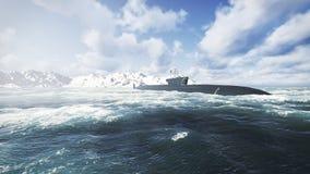 Ubåt för ryssBorei grupp på det nordliga vattnet Arkivbild
