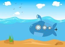 Ubåt i havet, vektortecknad filmillustration stock illustrationer