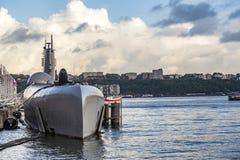Ubåt på museumpir 86 Arkivbild
