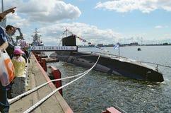 Ubåt på pir Arkivfoto