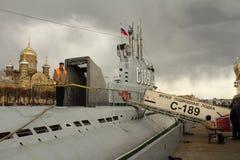 Ubåt som C-189 svävar museet i St Petersburg Arkivbild