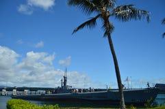 Ubåt USS Bowfin Den gamla USA-ubåten konverterade in i museum Pärlemorfärg Harbon Royaltyfri Foto