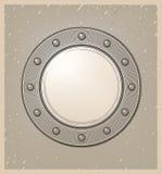 Ubåtfönster eller hyttventil i gravyrstil Arkivbild